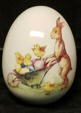 Vintage Large Painted Porcelain Easter Egg Bunny Chicks In Wheelbarrow !