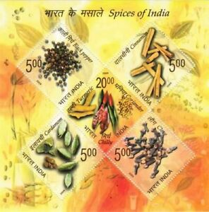 India 2009 Spices Medicinal Plants Gastronomy Cuisine Food Miniature sheet