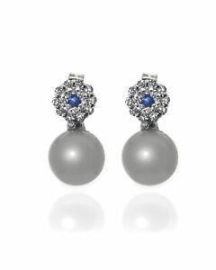 Bliss By Damiani 18k White Gold Diamond 0.21ct And Sapphire Earrings 20080050