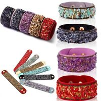 Boho Women Natural Stone Crystal Leather Wrap Beads Bracelets Bangle Jewelry New