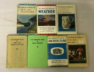 7x Vintage Observer's Books Sea Fishes Weather Soccer Architecture Pottery