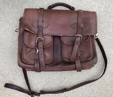 USED Custom Hide SCHOLAR 3 COMPARTMENT LAPTOP Briefcase Satchel Messenger