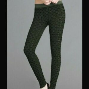 NEW Olive Green Geometric Design Seamless Leggings by Nikibiki One Size