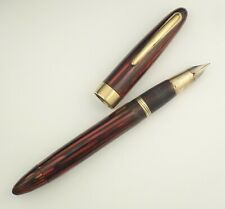 SHEAFFER LIFETIME TRIUMPH PEN c1946, CARMINE RED! -- STRIPED SECTION