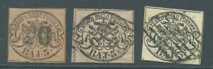 PAPAL STATES 1852 SG15/16 3b group - 3 good to fine used