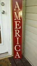 "Large Rustic Wood Vertical Porch Sign America 48"" Primitive Distressed Patriotic"