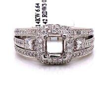 14K White Gold 0.86 TCW Diamond Semi Mount Engagement Ring Center 1 Ct Square