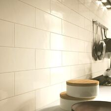 Sample of subway gloss flat cream metro ceramic wall tiles 10 x 20cm