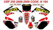N 194 HONDA CRF 250 2008 2009 Autocollants Déco Graphics Stickers Decals Kit