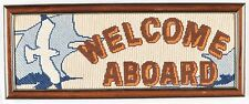 Welcome Aboard Sign Framed Needlepoint Picture Nautical Seagull Boat Man Cave