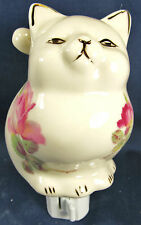 Night Light Floral Cat porcelain lamp home decor
