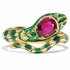 Vintage Snakes Ring with Big Ruby In 750 Gold & Email / Snake Green 18K