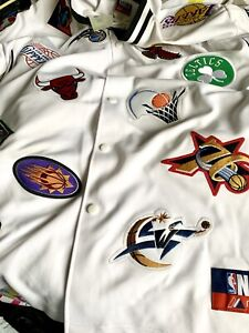 Vintage NBA Majestic Button Up Patches Jersey, Celtics Bulls Lakers Size L