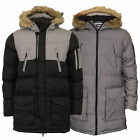 Mens Reflective Long Bubble Parka Jacket Brave Soul Coat Hooded Padded Winter