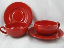 Cherry Red Tea Cups & Saucers Set of 2  Waechtersbach German Stoneware NEW