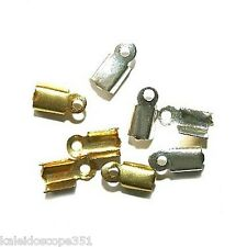 . 20 x Gold Plated Fold Over Crimp Ends For 2mm Cords JMSLondonCo by Jewellery Making Supplies London