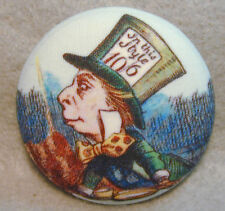 Alice Wonderland Mad Hatter Fabric Covered Button 1 & 1/2 inch FREE US SHIPPING