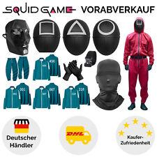 Squid Game Kostüm Cosplay Overall Maske Gürtel Halloween Karneval Jacke + Hose
