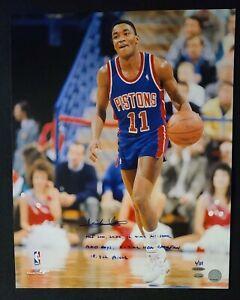 ISIAH THOMAS signed Detroit Pistons 16x20 (6) Stats Inscribed Photo 4/11 - UDA