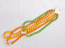 Girls' Fashion Jewelry ~ 3 Colorful Bead Necklaces (Amber, Green, Orange)