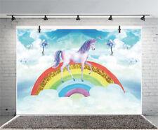 Unicorn Golden Rainbow Photography Backdrops 5x3Ft Theme Party Photo Background