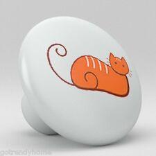 Cat Kitty Ceramic Knobs Pulls Kitchen Bathroom Closet Drawer Door Cabinet 036
