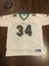 23b70f6f467 Vintage REEBOK Miami Dolphins NFL Ricky Williams WHITE Jersey Men's 2XL