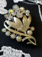 Vintage Jewelry AB BROOCH PIN CORO Gold Tone Prong Set Rhinestones Signed