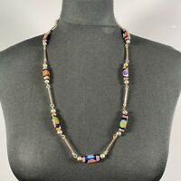 VINTAGE 70s Murano Glass Style Necklace Long Gold Tone Stone Clay Millefiore