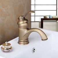 NEW Antique Brass Mixer Faucet Basin Sink Tap Bathroom Toilet Water Deck Mounted