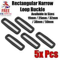 Rectangular Narrow Loop Buckle for Webbing 5Pcs (Sizes in mm 19/25/32/38/50)