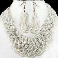 Necklace Earrings Cream Seed Bead Braided Chunky Woven Jewelry Set Acrylic