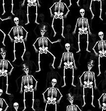 'FRIGHT NIGHT' ELEGANT SKELETONS ON BLACK HALLOWEEN FABRIC - HENRY GLASS