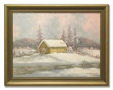 ALBERT ÖLANDER - Swedish Winter Landscape from 1942. Original Oil painting.