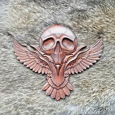 More details for carved oak raven skull viking thor odin norse wood carving onlay solid oak