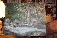 """Vintage 30""""x24"""" Oil on Board Original Painting Creek Woods Scene Hackman"""