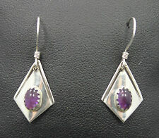 Dangle Earring with Purple Amethyst Tb Sterling Silver Kite Shaped