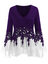 Plus Size Fashion Women Tops T-Shirt Long Sleeve Applique Layered V-Neck Blouse