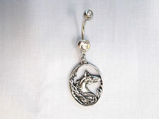 TRIBAL HORSE HEAD w FEATHERS IN OVAL SHAPE DANGLING PEWTER CLEAR 14g BELLY RING