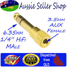 """Gold Plated 1/4"""" 6.35mm Hifi Male to Aux 3.5mm Female Stereo Audio Adapter jack"""