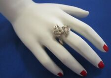 VINTAGE STERLING SILVER - CUTOUT FILIGREE SCROLL BYPASS RING - SIZE O 1/2