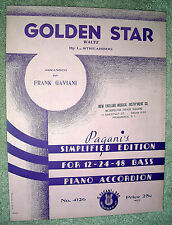 1936 GOLDEN STAR Waltz Sheet Music by L. Streabbog PIANO ACCORDION Simplified