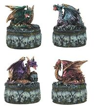 "3"" Dragon & Skull Trinket Boxes SET OF FOUR Figurine Statue Figure Magic Fantasy"