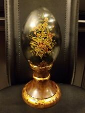 """Floral Egg With Stand 11""""h Vintage Black Lacquered"""