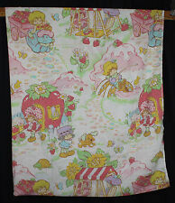 Vtg Strawberry Shortcake Fabric Sheet Twin Flat 1980 Plum Puddin Apple Dumplin