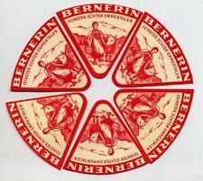 6 ORIGINAL SWISS TRIANGULAR CHEESE LABELS - BERNERIN