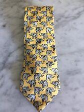 Ermenegildo Zegna Tie, Yellow with Gray Elephants, 100% Silk