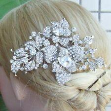 Unique Clear Austrian Crystal Flower Bridal Hair Comb Wedding Headpiece 04720C1