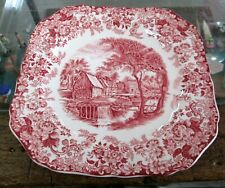 """Johnson Bros Mill Stream Pattern Pink/Red Square salad Plate 7 3/4"""""""