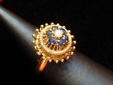 Exclusiver Damen Ring - Perle & Saphire - 18. Kt. Gold - 750 - second hand - 52
